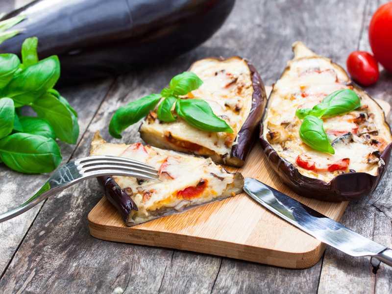Auberginen Tomaten Käse Gratin